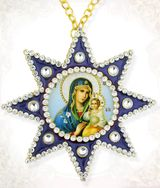 Virgin Mary of Eternal Bloom, Ornament Icon Pendant with Chain, Blue