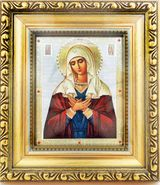 Virgin Mary of Extreme Humility, Orthodox Framed Icon  with Crystals and Glass