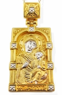 Virgin Mary Iverskaya, Sterling Silver, Gold Plated  Icon Pendant