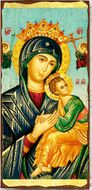 Virgin Mary Perpetual Help (In Blue), Greek Serigraph Panel Icon