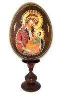 "Virgin Mary ""Assuage My Sorrows"", Wooden Icon Egg with Stand"