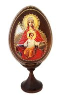 Virgin Mary Enthroned, Wooden Icon Egg with Stand