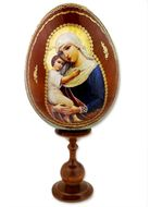 "Virgin Mary ""Seeker of Perished"", Wooden Icon Egg with Stand"