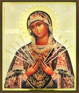 Virgin Mary  of Sorrows - Seven Swords, Orthodox Christian Gold Foil  Icon