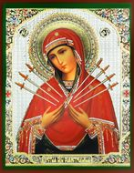 Virgin Mary  of Sorrows - Seven Swords, Orthodox Christian Icon,  Small