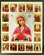 Virgin Mary  of Sorrows - Seven Swords, Orthodox Vita (Life) Icon, Small