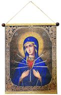 Virgin Mary Softener of Evil Hearts, Hanging Tapestry Icon Banner