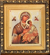 Virgin Mary Perpetual Help,  Framed Icon with Glass and Crystals