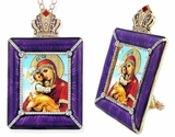 Virgin Mary Pochaevskaya Icon in Square Style Frame with Stand