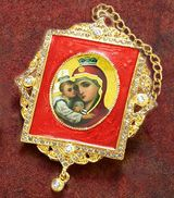 Virgin Mary Pochaevskaya, Square Shaped Framed Icon Ornament, Red