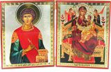 Virgin Mary Queen of All / St Panteleimon the Healer, Diptych Orthodox Icon