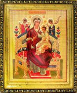 Virgin Mary Queen of All  (Vsetsaritsa), Gold Framed Icon with Crystals and Glass