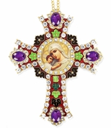 "Virgin Mary ""Seeker of the Perished"" Icon in  Jeweled Wall Cross"