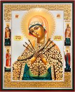 Virgin Mary of Sorrows - Seven Swords with Saints, Orthodox Gold Foil Icon