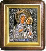 Virgin Mary Smolenskaya,  Wood Framed Icon with Metal Oklad and Glass