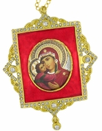 Virgin Mary, Square Shaped Framed Icon Ornament, Red