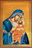 Virgin Mary Sweet Kissing, Byzantine Style Gold Foil Icon