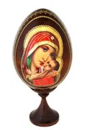 """Virgin Mary """"Sweet Kissing"""", Icon Wooden Egg with  Stand"""