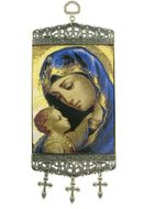 "Virgin Mary, Tapestry Icon Banner, ~10"" H"