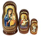 Virgin Mary the Eternal Bloom, 3 Nesting Icon Doll, Hand Painted, 4""
