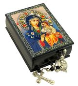 Virgin Mary the Eternal Bloom,  Jewelry Rosary Icon Box