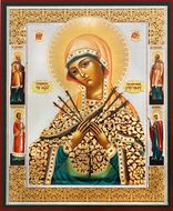 Virgin Mary of Sorrows - Seven Swords with Saints,   Orthodox Mini Icon