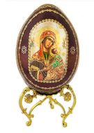 Virgin of Passions - Lady of Perpetual Help, Wooden Icon Egg with Metal Stand