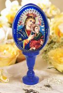 Virgin of Passions, Icon Wooden Egg with Stand