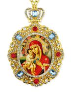 Virgin Mary Zirovitskaya - Flowers, Jeweled  Icon Pendant with Chain