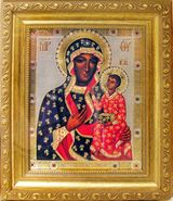 Virgin Mary of Czestochova, Orthodox  Framed Icon with Crystals and Glass