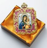 Virgin Mary The  Eternal Bloom, Square Shaped Ornament, Pink