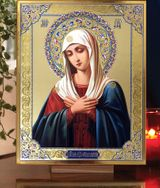 """Virgin Mary """"Extreme Humility"""", Orthodox Gold Foil Embossed Icon"""