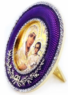 Virgin of Jerusalem  Icon in Round Style Frame with Stand