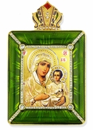 Virgin of Jerusalem Icon in Square Style Frame with Stand