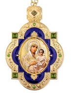 Virgin of Jerusalem, Jeweled  Icon Ornament with Chain