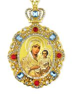 Virgin of Jerusalem, Jeweled  Icon Pendant with Chain
