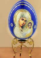 Virgin of Kazan, Decoupage Wooden Icon Egg with Stand
