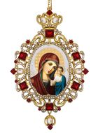 Virgin of Kazan, Panagia Style Icon Ornament / Red Crystals
