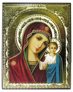 Virgin of Kazan, Gold Foil Embossed Orthodox Icon