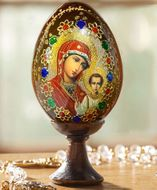 Virgin of Kazan, Wooden Icon Egg with Stand