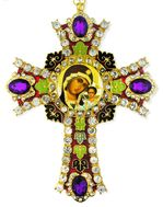 Virgin of Kazan Icon in  Jeweled Wall Cross