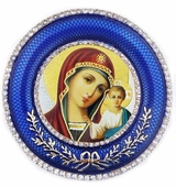 Virgin of Kazan   Icon in Round Style Frame with Stand