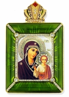 Virgin of Kazan Icon in Square Style Frame with Stand