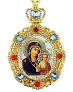 Virgin of Kazan,  Jeweled  Icon Pendant with Chain