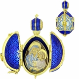 Virgin of Kazan, Open Up  Egg Pendant Locket,   Sterling Silver 925, 18kt Gold Gilded