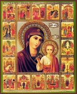Virgin of Kazan with Feasts (Vita), Orthodox Christian Icon