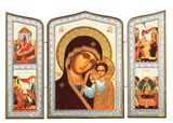 Virgin of Kazan and Feast Days, Orthodox Triptych Icon