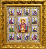 Virgin of Orans (Praying) Museum Quality Finift Icon, Hand Enameled Hand Painted, Framed