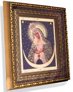Virgin of Ostrobramska, Framed Orthodox Christian Icon w/Crystals and Glass