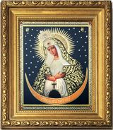 """Virgin Mary """"Ostrobramska"""", Wood Framed Icon with Crystals and Glass"""